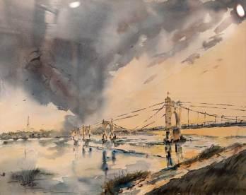 """PRIX DU THEME Offert par le GAB Geneviève LEROY pour n° 128 """"Menace d'orage sur le pont"""""""