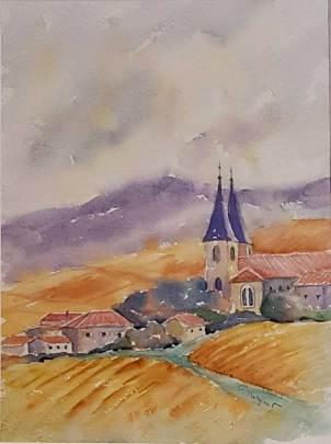 PRIX DE L'EXPRESSION ARTISTIQUE LOCALE Décerné par la Commission Culture de la Ville Françoise MIRGUET pour le n° 149 « Village en automne »