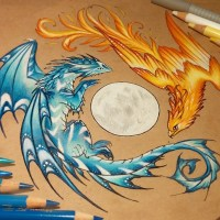 Beautiful Dragon Artwork Drawn Only With Colored Pencils