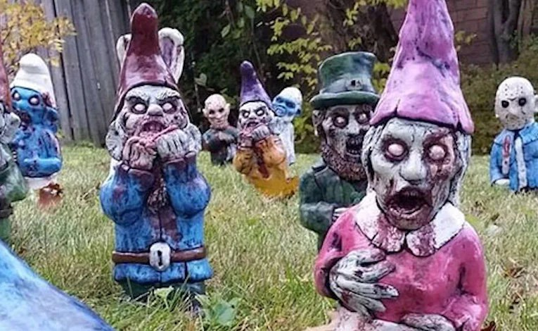 Zombie Lawn Gnomes.  Yes, Zombie Lawn Gnomes.
