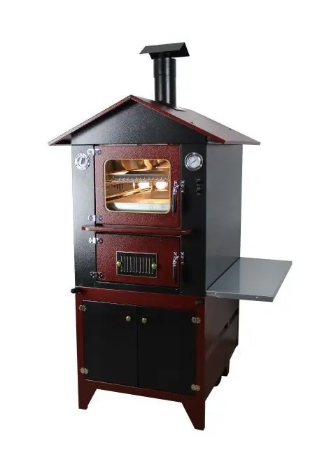 forno a legna indiretto da esterno con carrello di colore rosso
