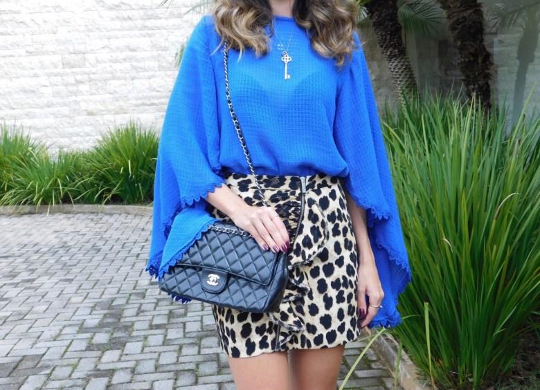 look do dia, estampa de onça, azul cobalto, moda, estilo, Gabi May, outfit of the day, ootd, fashion, style, leopard print