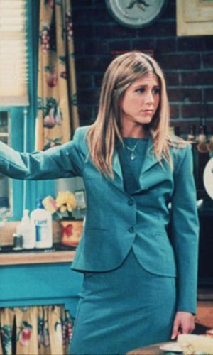 rachel green, jennifer aniston, friends, anos 90, looks, tendência, moda, estilo, trend, 90s, outfits, fashion, style, pant suit, terninho