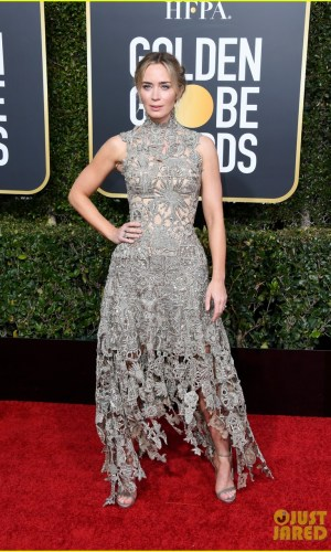 golden globes 2019, golden globes, awards season, red carpet, fashion, look, gown, tapete vermelho, premiação, moda, look, vestido longo, hollywood, emily blunt