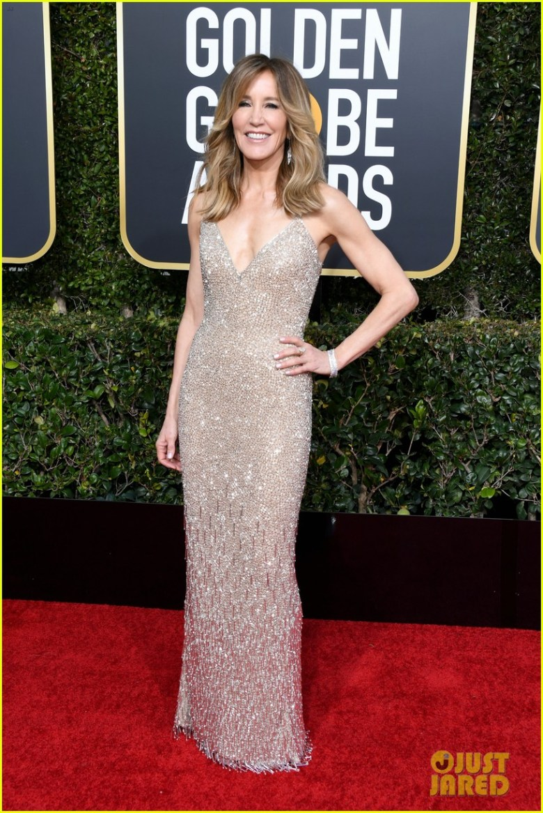 golden globes 2019, golden globes, awards season, red carpet, fashion, look, gown, tapete vermelho, premiação, moda, look, vestido longo, hollywood, felicity huffman