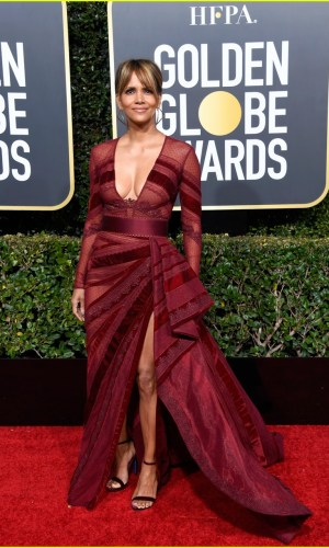golden globes 2019, golden globes, awards season, red carpet, fashion, look, gown, tapete vermelho, premiação, moda, look, vestido longo, hollywood, halle berry