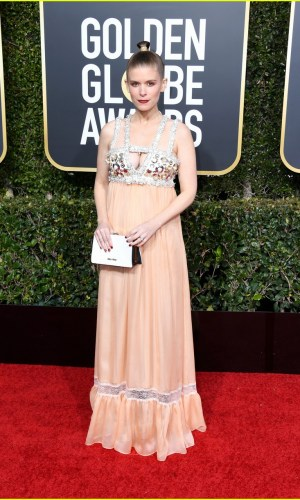 golden globes 2019, golden globes, awards season, red carpet, fashion, look, gown, tapete vermelho, premiação, moda, look, vestido longo, hollywood, kate mara