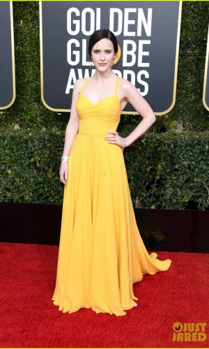 golden globes 2019, golden globes, awards season, red carpet, fashion, look, gown, tapete vermelho, premiação, moda, look, vestido longo, hollywood, rachel brosnahan