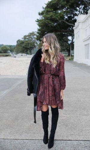 vestido e bota, combinação contrastante, look, tendência, look inverno, look outono, moda, estilo, fashion, style, trend, dress with boots, elle ferguson