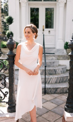 julia engel with cowl neck dress, trend