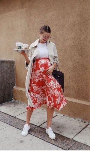 pregnant style, floral midi skirt