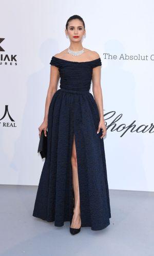 amfAR cannes 2019, nina dobrev dark blue gown