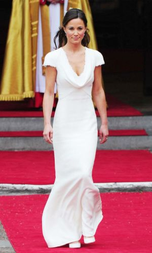 pippa middleton with a cowl neck dress, trend