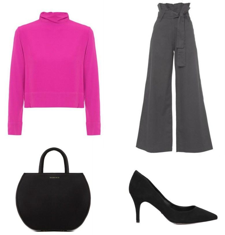 blusa básica rosa, um item e cinco looks, look trabalho calça pantalona