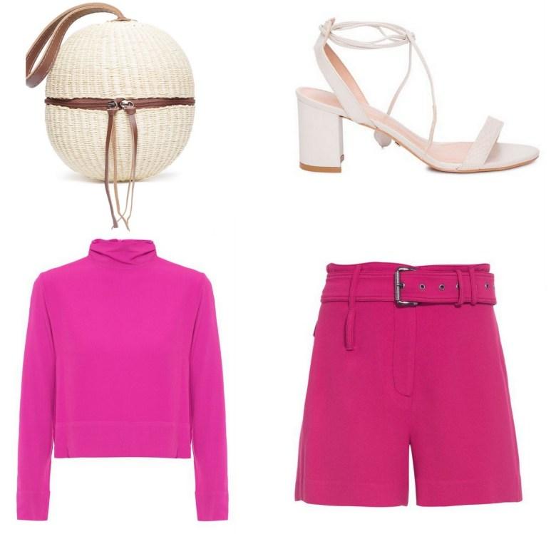 blusa básica rosa, um item e cinco looks, look almoço short rosa