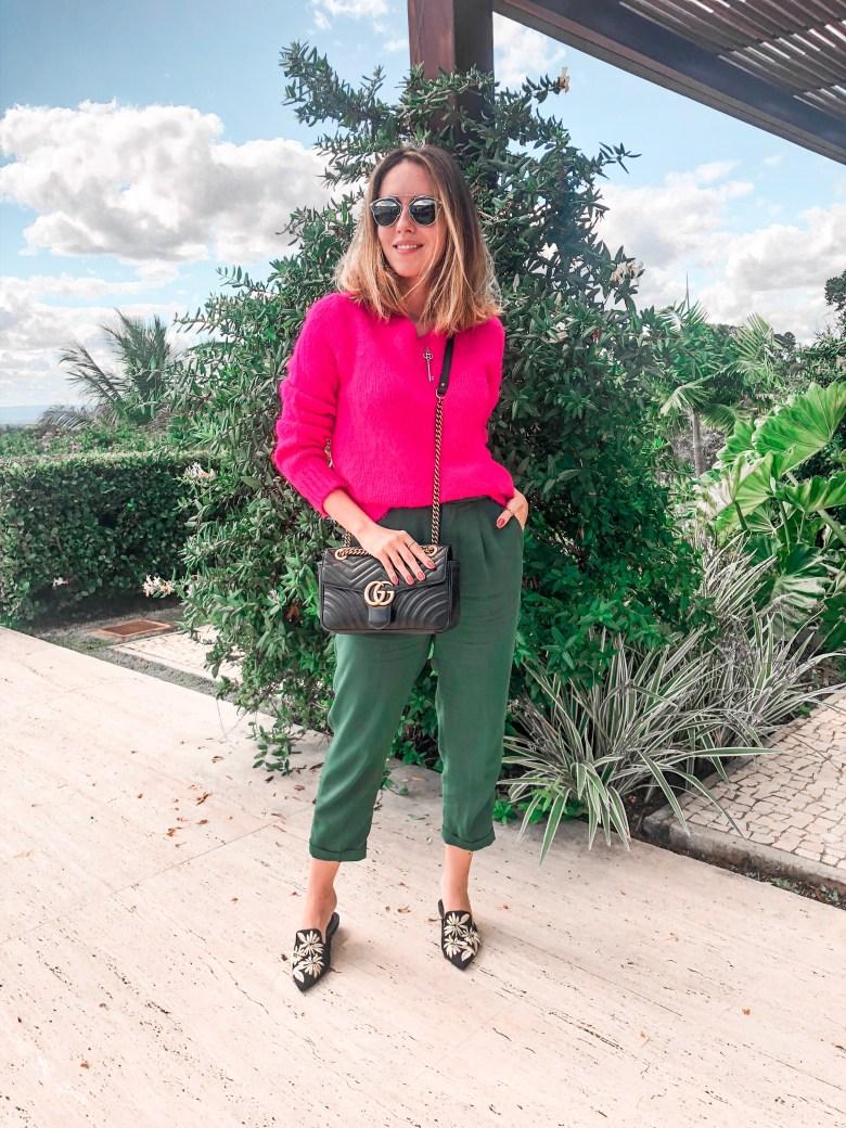 look rosa e verde, color block, pink and green, gabi may