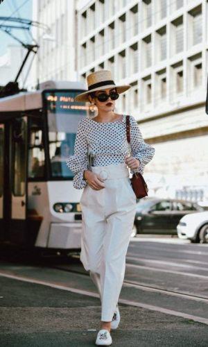 calça clara, moda, street style, white pants