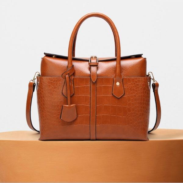 Sharp Madame Crocodile Pattern Bag in brown colour (2)