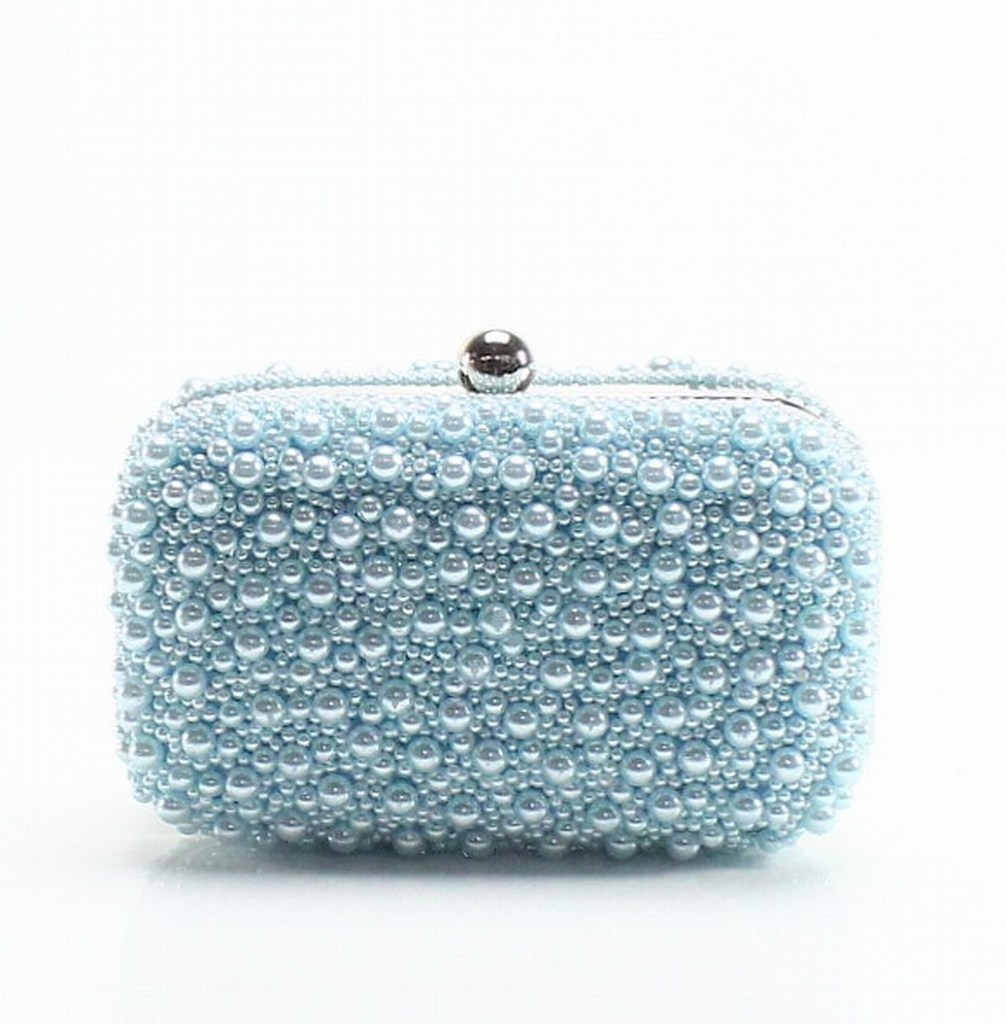 pearly baby blue clutch bag