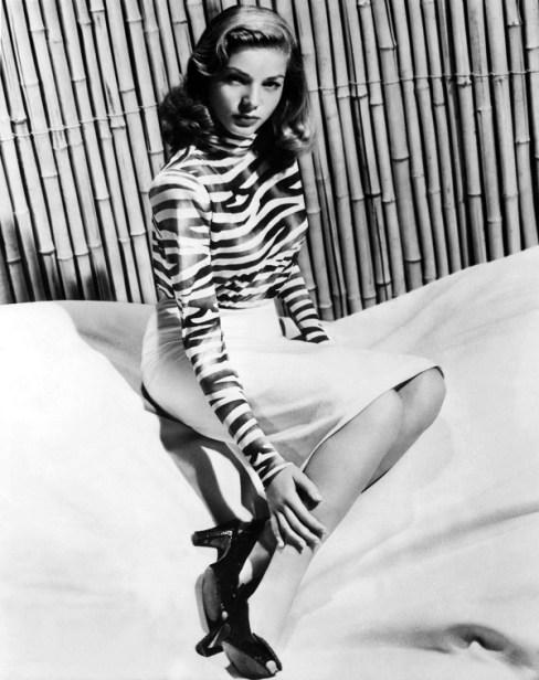 Lauren Bacall in print zebra