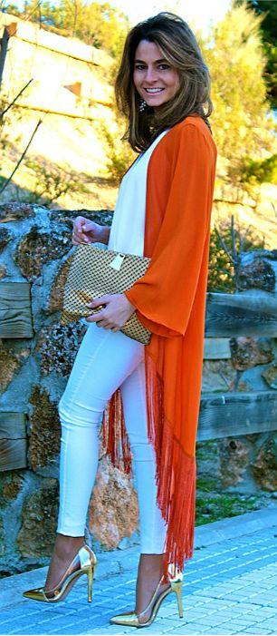 Tinuta de vara - kimono, alb si accesorii aurii