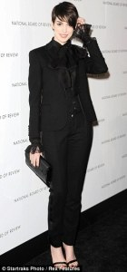 Anne Hathaway in Saint Laurent Tuxedo