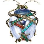 Brooch with chalcedony and lapis, Iradj Moini via www.elle.com