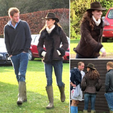 Kate Middleton si Wellington-urile sale de noroi