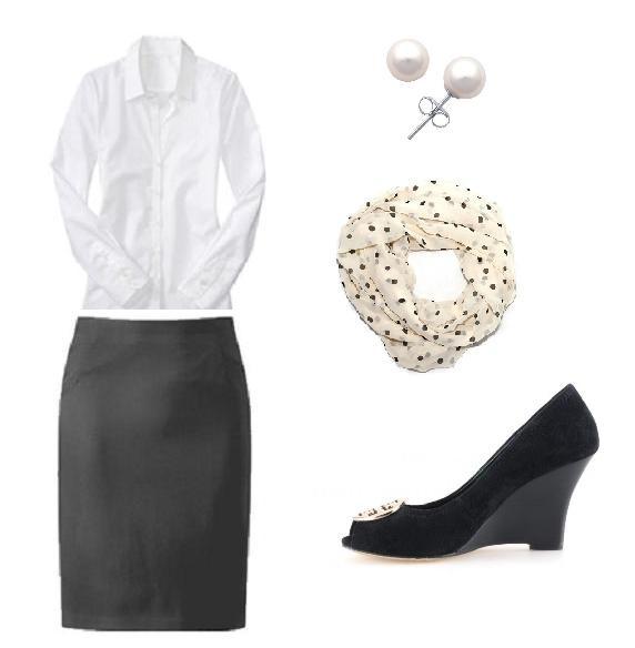 Garderoba clasica de birou: camasa alba, fusta neagra si accente feminine
