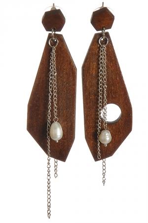 Cercei din lemn si perle Iuliana Asoltanei