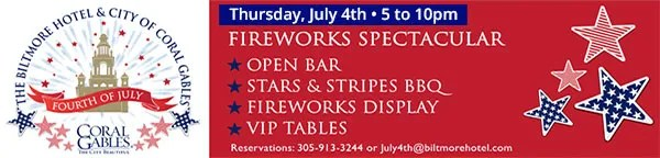 July 4th Fireworks at Biltmore Hotel in Coral Gables