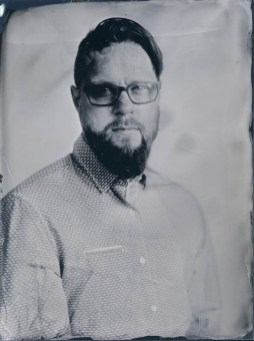 Gábor – 18x24cm wetplate collodion ambrotype on clear glass (part of the Fairground Portraits series)
