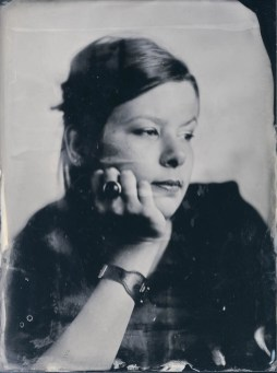Dóri – 18x24cm wetplate collodion ambrotype on clear glass (part of the Fairground Portraits series)