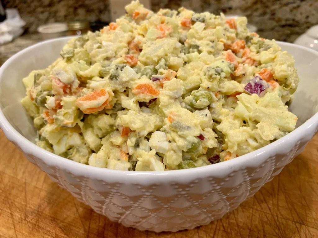 Finished photo of Polish potato salad recipe.