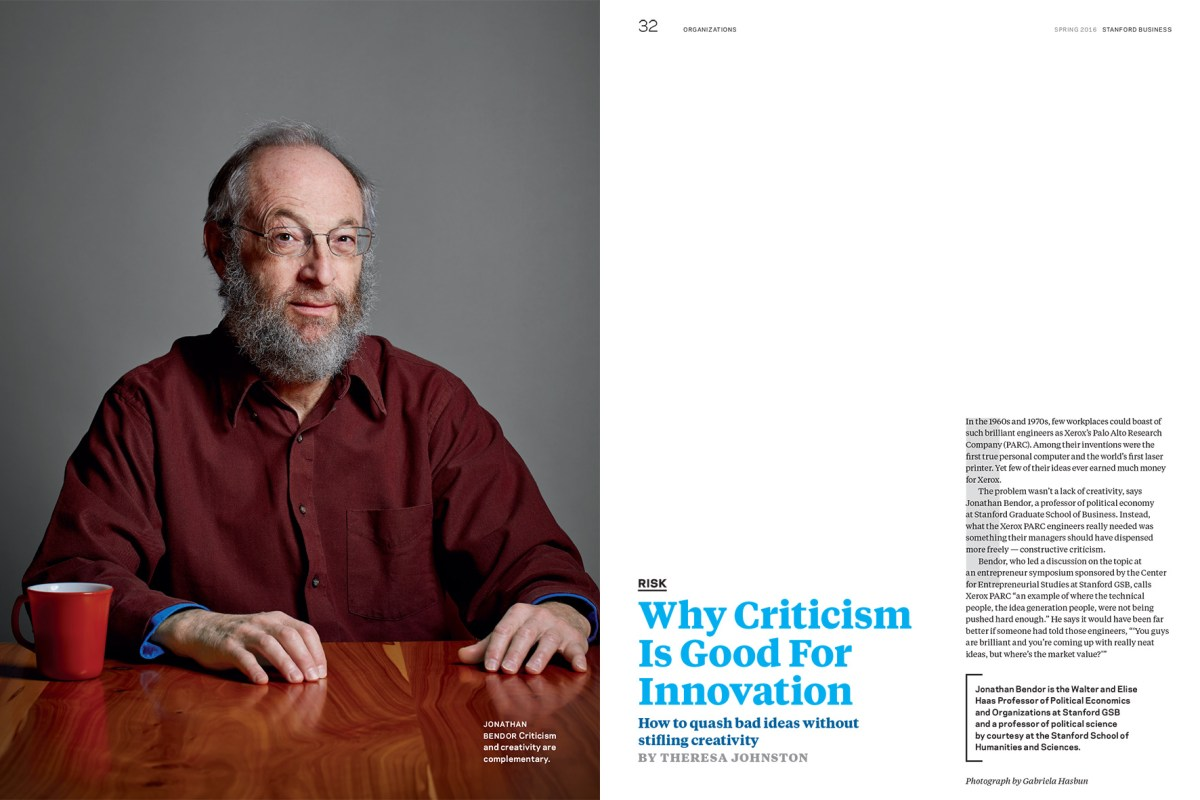 Jonathan Bendor for Stanford Business Magazine.