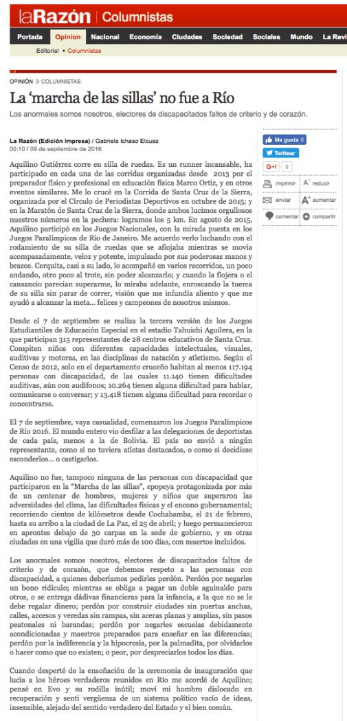 Versión editada y publicada en el periódico La Razón