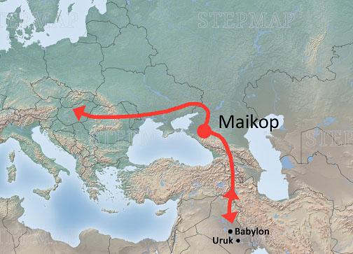Feldzüge der Maikop-Kultur nach Mesopotamien (Hypothese) und Richtung Mitteleuropa (nachgewiesen)
