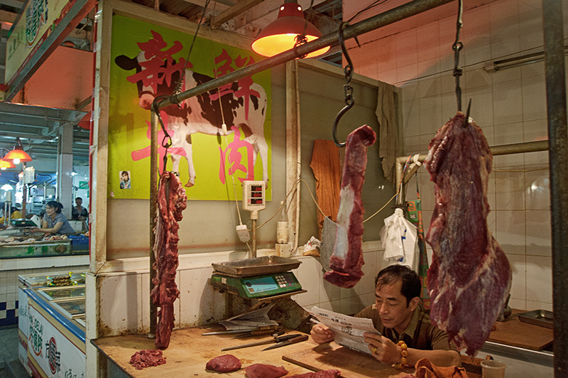 China, Shanghai, meat, market