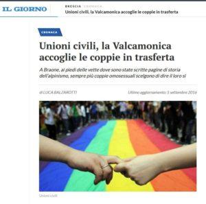 """Articolo del """"Il Giorno"""" Brescia, Martedì 06 Settembre 2016"""