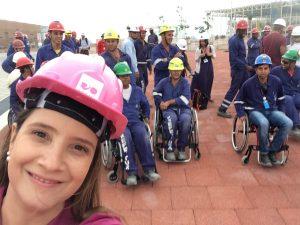 Filmagem da Globo no Parque Olimpico da Sensibilização - Operários na cadeira de rodas.