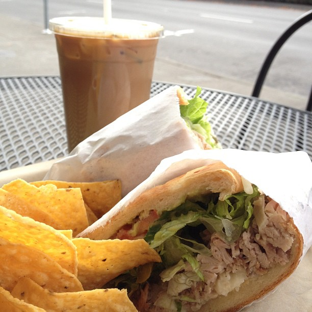 Carnitas torta and horchata latte mmmmmm