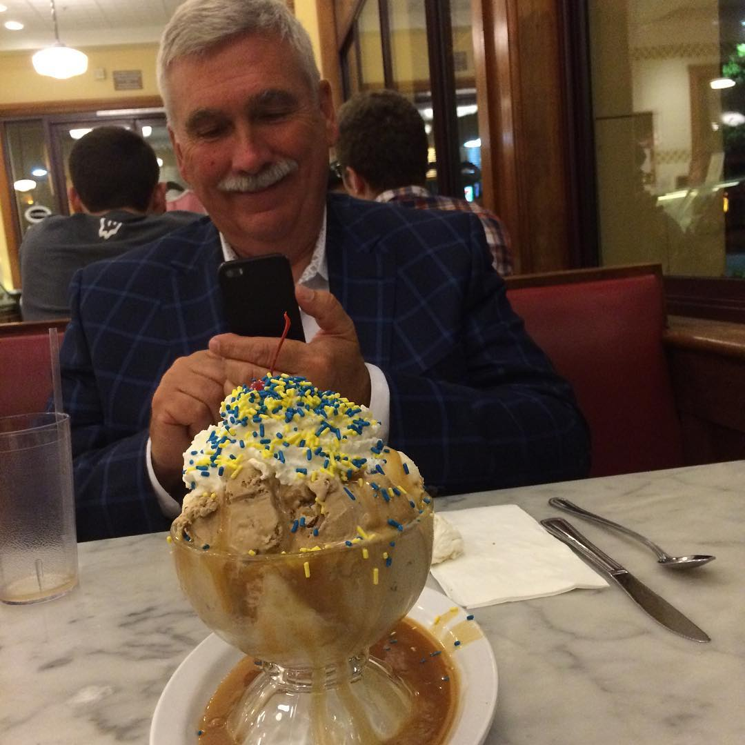 David enjoying the sundae of the month at Fentons after his talk