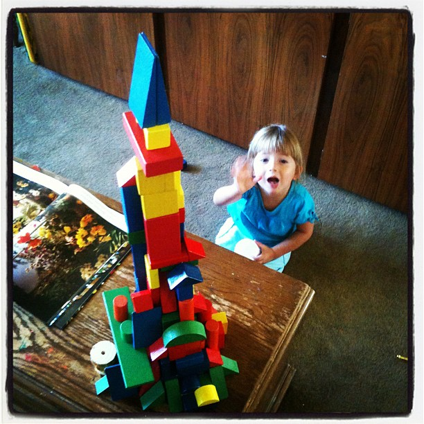 Emily and her tower of blocks
