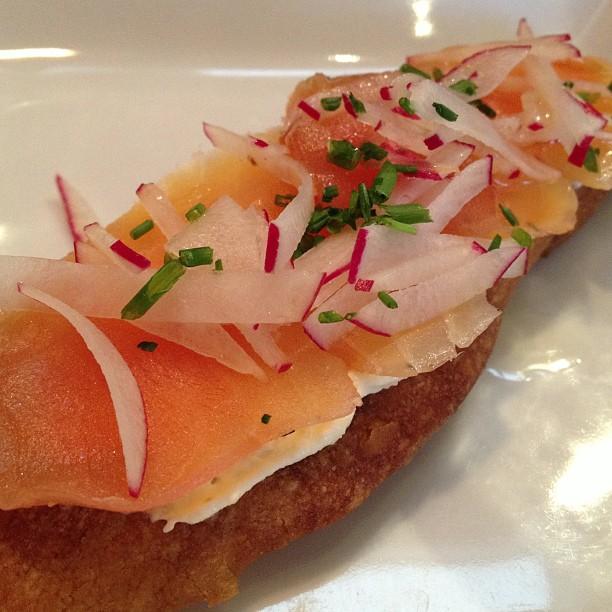 House cured salmon bruschetta