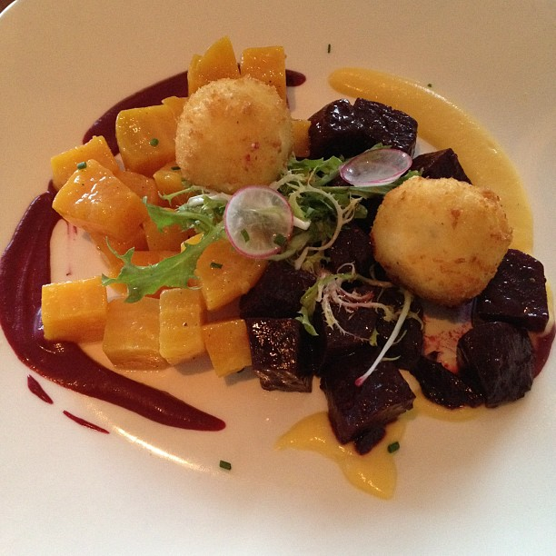 Roasted beets and goat cheese fritters
