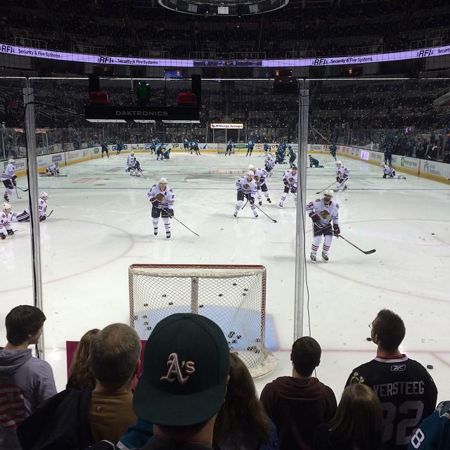 Sharks vs Blackhawks warmup. Go Sharks obviously :)
