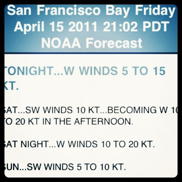 Should be beautiful sailing tomorrow