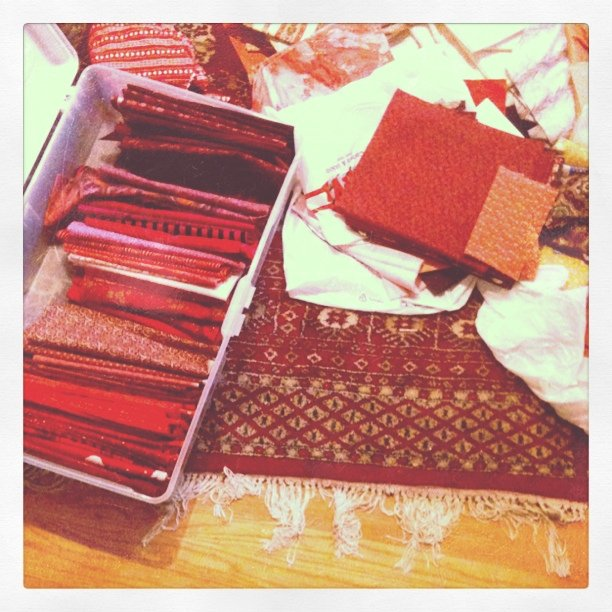 Sorting fabric in progress