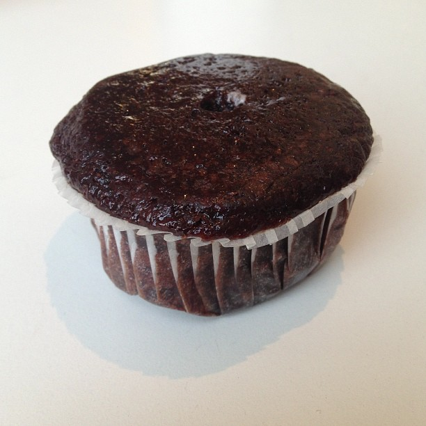 That, my friends, is a penguino stuffed vegan chocolate cupcake.