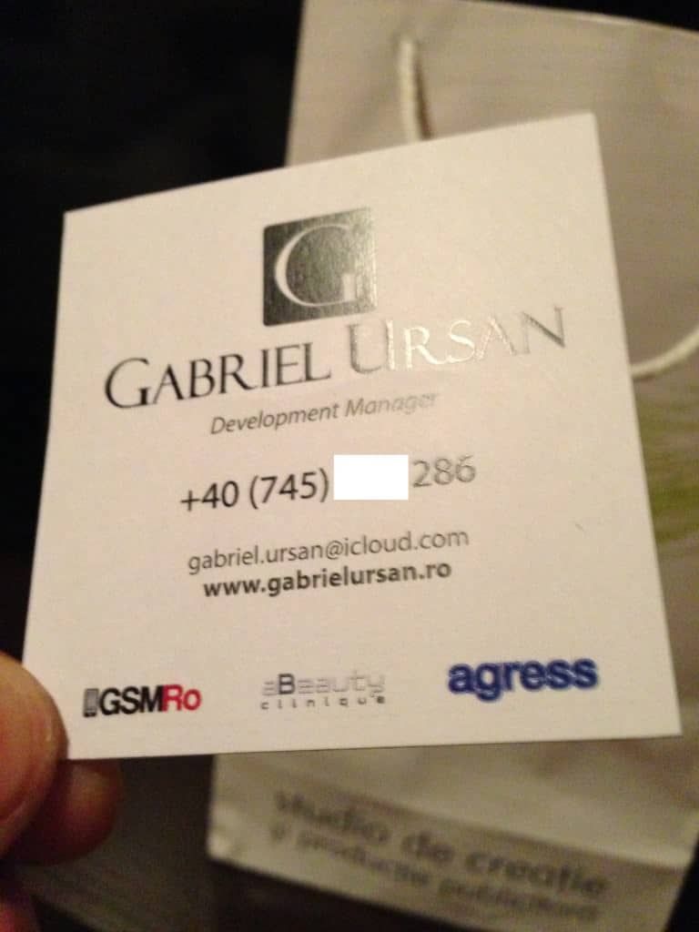 Carte de vizita Gabriel Ursan din apropiere